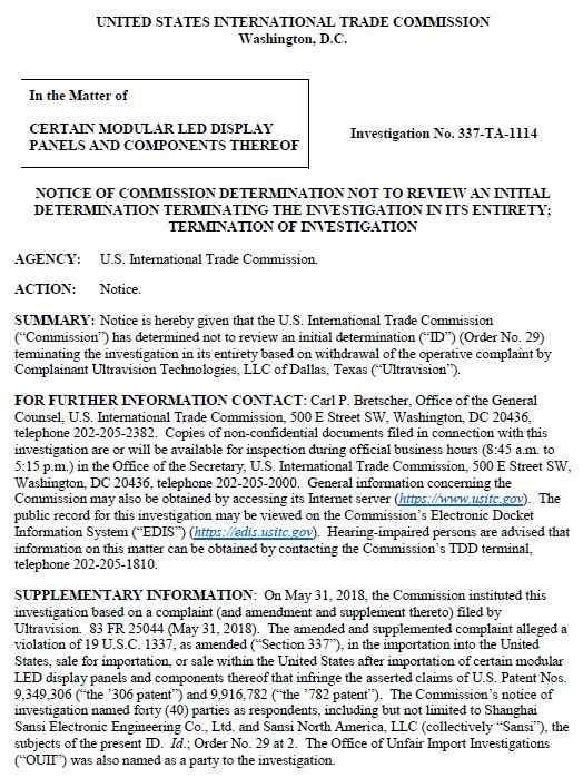 """美国公司针对中国<a href=http://www.led-100.com target=_blank>led显示屏</a>企业发起的""""337专利调查案""""正式结束调查"""